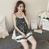 性感睡衣吊帶睡衣女夏季薄款棉綢兩件套純棉性感可愛日系人造棉家居服套裝 衣間迷你屋