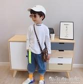 男童t恤秋裝新款寶寶半高領打底衫中大童純棉體恤兒童上衣潮 晴天時尚館