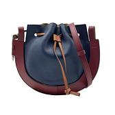 【台中米蘭站】全新品 LOEWE Horseshoe 多色牛皮拼接束口斜背包(深藍/酒紅)