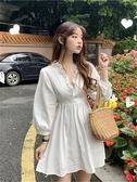 白色洋裝 2020新款初秋小個子仙女復古初戀桔梗裙子法式氣質長袖洋裝女夏