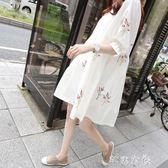 孕婦夏裝上衣純棉孕婦洋裝夏季中長款短袖新款春夏娃娃裙子      芊惠衣屋