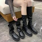 快速出貨 長靴騎士英倫風馬丁靴短靴女秋季新款中筒顯瘦切爾西長靴秋冬單靴
