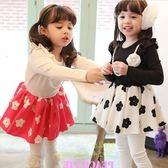 洋裝連衣裙 韓版秋冬小公主花朵連衣裙(含珍珠花朵項鍊) W67003
