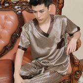 秋冬薄款男士真絲睡衣 男式夏天短袖短褲絲綢大碼家居服套裝 【免運】