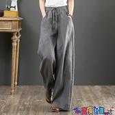 棉麻褲 2021春裝新款棉麻女褲寬鬆大碼顯瘦闊腿褲高腰拖地褲直筒長褲亞麻 寶貝計畫