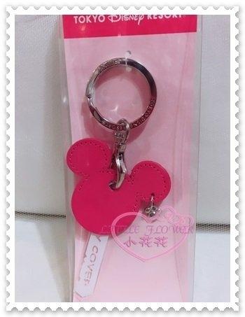 ♥小花花日本精品♥Hello Kitty 迪士尼Disney米妮鑰匙套鑰匙圈鑰匙收納套皮革大臉桃紅色 00905503