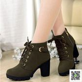秋冬新款韓版高跟粗跟女靴子繫帶短筒靴女短靴馬丁靴單靴女鞋棉靴 一件免運