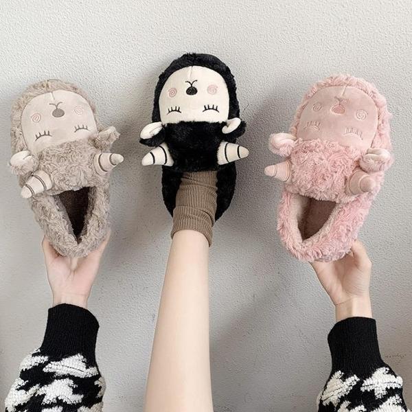 卡通可愛加絨包跟棉拖鞋女學生厚底保暖舒適包頭毛毛拖鞋女冬季 後街五號