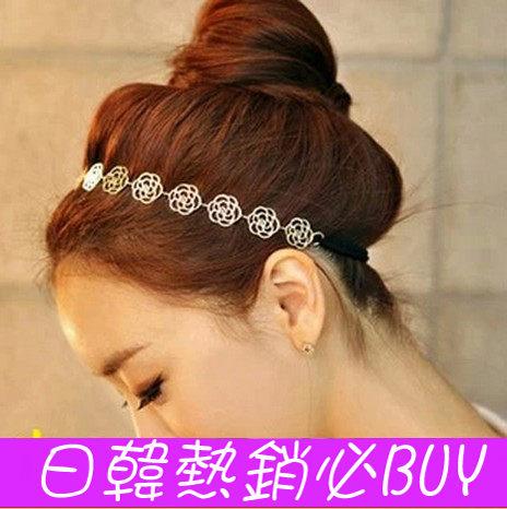►金屬玫瑰花鏤空盤髮髮帶 髮飾 頭飾 頭帶 髮箍 【B5059】