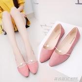 夏季新款韓版平底平跟豆豆鞋女時尚百搭套腳單鞋尖頭學生女鞋  英賽爾