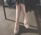 高跟鞋 新款方頭粗跟中跟復古奶奶鞋一字扣單鞋韓版女鞋工作鞋高跟鞋 聖誕節鉅惠