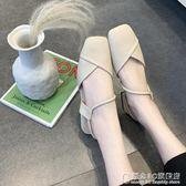 涼鞋女夏方頭時尚低跟一字帶包頭粗跟女鞋百搭兩穿學生鞋【概念3C旗艦店】