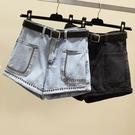 牛仔短褲 [S-5XL] 大碼牛仔短褲女新品寬鬆ins釘珠高腰a字闊腿熱褲子潮 - 古梵希