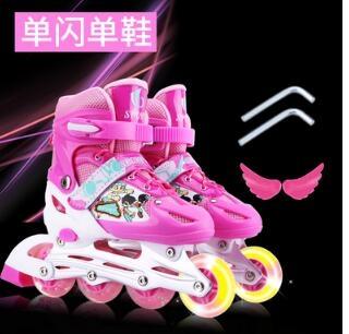 直排輪 3-4-5-6-8-9-10-12歲男女溜冰鞋兒童全套裝小孩兒旱冰輪滑鞋閃光【快速出貨八折鉅惠】