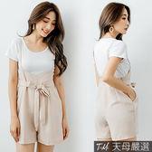 【天母嚴選】兩件式!圓領T恤+高腰綁帶可調式雪紡吊帶褲(共二色)