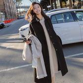梨卡 - 大牌感黑色顯瘦單排扣中長版黑色西裝防風保暖毛呢外套風衣長大衣AR010