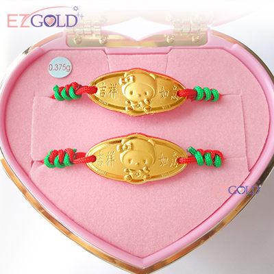 EZGOLD-kiki帽天使-彌月金飾音樂禮盒 (0.10錢)