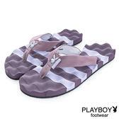 PLAYBOY 踏浪青春 條紋布編夾腳拖鞋-紫