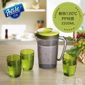 貝合耐熱冷水壺大容量塑料涼水壺套裝家用冷水杯扎壺涼水杯涼茶壺   良品鋪子