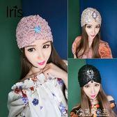 歐美復古頭巾女蕾絲包頭帽夏天帽子女薄款水鑽優雅發飾頭飾頭巾帽 花間公主