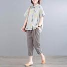 亞麻蔬菜印花襯衫套裝(上衣+長褲)-大尺碼 獨具衣格 J3614