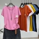 純棉短袖T恤 圓領套頭純色上衣/6色-夢想家-0414