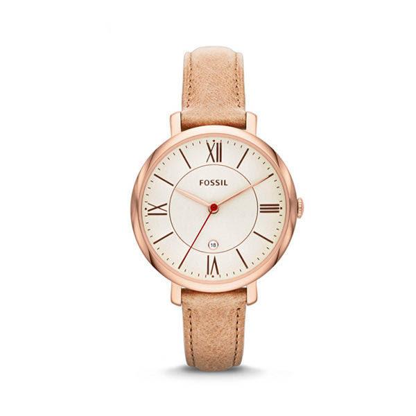 FOSSIL Jacqueline 沙色經典皮革手錶 女 ES3487