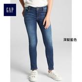 Gap女童 基本款時尚舒適水洗牛仔褲 349415-深靛藍色