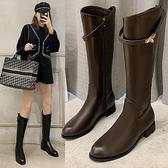 長靴 女不過膝2021年秋冬季加絨粗跟高筒皮靴百搭瘦瘦長筒騎士靴子 百分百