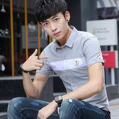 短袖素面襯衫男潮青少年學生薄款襯衣拼色上衣《印象精品》t330