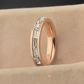 玫瑰金鑲鑽純銀戒指-超閃長方鑽精美生日情人節禮物女飾品71am47【巴黎精品】