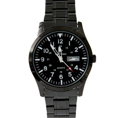 手錶 型男軍用雙圈數字全黑不鏽鋼腕錶 搭戴SEIKO精工VX43石英機芯 柒彩年代【NE1808】30米防水