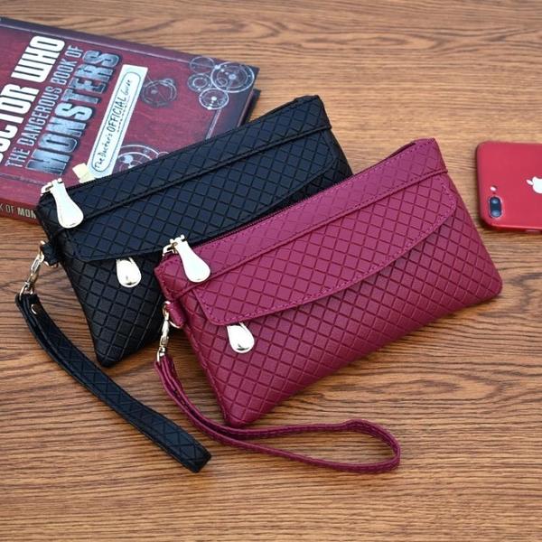 新款女錢包韓版百搭手拿包爆簡約手機包氣質格紋零錢包小包