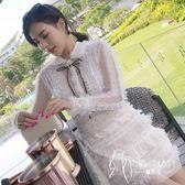 長袖禮服  秋季新款網紗蕾絲木耳花邊釘珠水鉆蝴蝶結長袖連衣裙仙女禮服