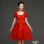 新娘敬酒服孕婦新夏季紅色短版高腰結婚晚禮服大尺碼胖mm  快速出貨