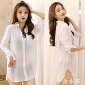透視雪紡襯衫女長袖中長款上衣2020新款bf性感襯衣寬鬆大碼睡衣裙 夢幻衣都