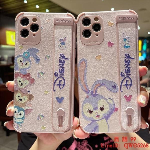 腕帶紫色兔子適用于iphone12手機殼蘋果13硅膠套12promax軟殼x/xs/xr防摔支架【西語99】