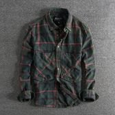 長袖襯衫 個性大口袋裝飾水洗做舊ins潮流歐美男士格子長袖襯衫