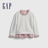 Gap女幼童 碳素軟磨系列 法式圈織甜美拼接休閒上衣 677878-白色