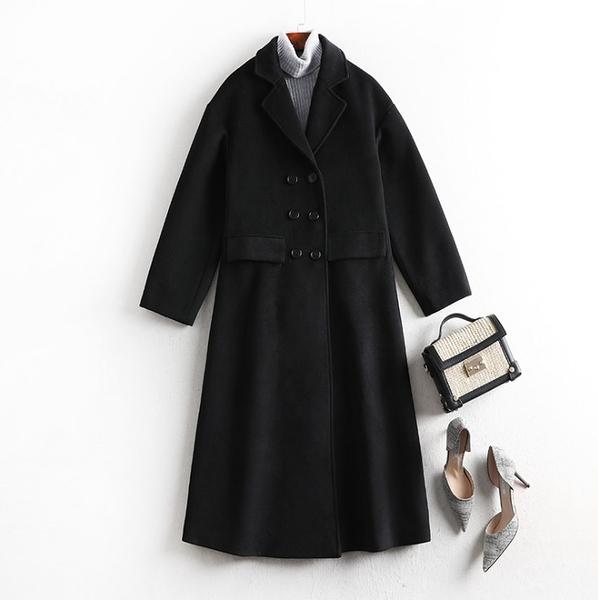 中大尺碼毛呢外套 韓版毛呢長版大翻領顯瘦外套 XL-5XL #lm8497 ❤卡樂❤
