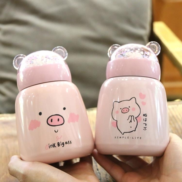 保溫杯   日繫可愛小豬不銹鋼韓國創意大肚杯兒童便攜水杯子