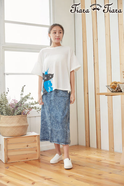 【Tiara Tiara】鯨魚印象水花寬版短袖上衣(素面/條紋)