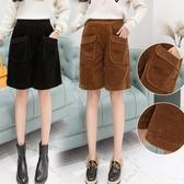 促銷九折 燈芯絨五分褲女秋冬季新款韓版寬松闊腿顯瘦短褲高腰直筒靴褲