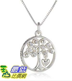 [美國直購] Sterling Silver Circle Family Tree with Heart All Things Grow with Love Pendant Necklace, 18 項鍊