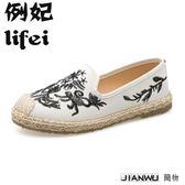 一腳蹬懶人鞋復古潮休閒刺繡布鞋