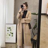 2020秋冬季新款韓版女裝慵懶風寬鬆加厚中長款針織開衫毛衣外套女 【新年狂歡購】