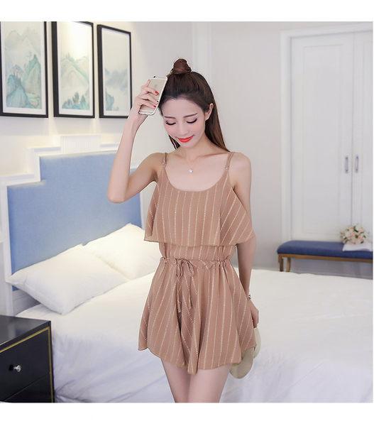 找到自己 G5 韓國時尚 夏季 沙灘 雪紡裙 吊帶裙 短袖 條紋 拼接 短裙 連身裙