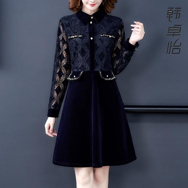 小香風襯衫連身裙 2020新款韓版氣質接金絲絨洋裝蕾絲拼打底裙 YN4123『易購3c館』