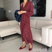 雪紡洋裝2019春季新款女雪紡洋裝長袖韓版時尚修身裙  【全網最低價】