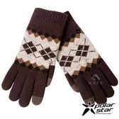 【PolarStar】男觸控保暖手套(菱格)『咖啡』P17627 台灣製造.絨毛手套.觸控手套.刷毛手套.露營